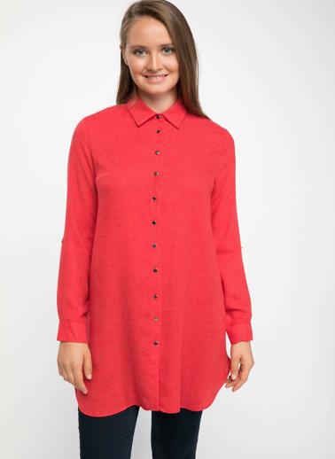 DeFacto Yüksek Manşetli Gömlek Tunik Kırmızı